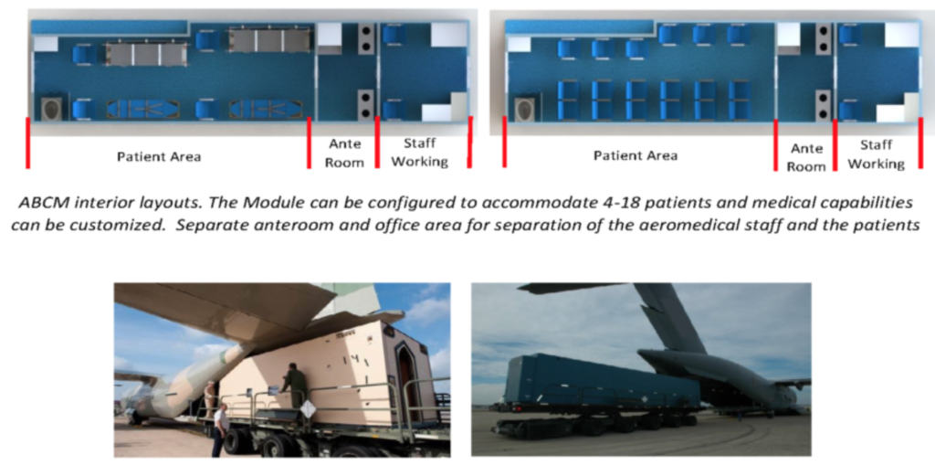 The Aeromedical Bio-Containment Module (ABCM) is a quick change medical module.